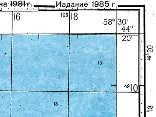 Reduced fragment of topographic map ru--gs--100k--l40-141--(1981)--N044-20_E058-00--N044-00_E058-30; towns and cities Kabanbay, Komosomolsk-na-ustyurte