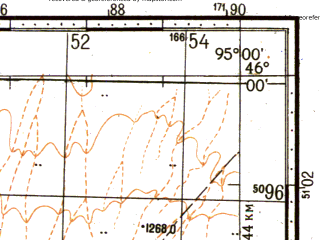 Reduced fragment of topographic map ru--gs--100k--l46-082--N046-00_E094-30--N045-40_E095-00
