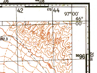 Reduced fragment of topographic map ru--gs--100k--l47-074--N046-00_E096-30--N045-40_E097-00