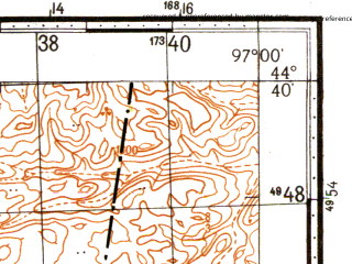 Reduced fragment of topographic map ru--gs--100k--l47-122--N044-40_E096-30--N044-20_E097-00