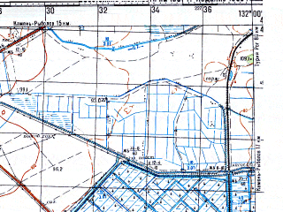 Reduced fragment of topographic map ru--gs--100k--l52-132--N044-40_E131-30--N044-20_E132-00; towns and cities Novoselishche, Popovka, Zharikovo