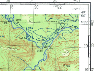 Reduced fragment of topographic map ru--gs--100k--l53-012--N048-00_E137-30--N047-40_E138-00