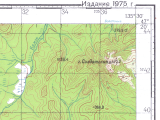 Reduced fragment of topographic map ru--gs--100k--l53-031--N047-20_E135-00--N047-00_E135-30