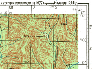 Reduced fragment of topographic map ru--gs--100k--l53-045--N047-00_E136-00--N046-40_E136-30