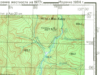 Reduced fragment of topographic map ru--gs--100k--l53-047--N047-00_E137-00--N046-40_E137-30