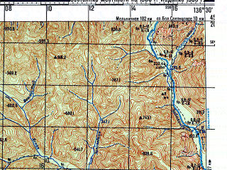 Reduced fragment of topographic map ru--gs--100k--l53-105--N045-20_E136-00--N045-00_E136-30