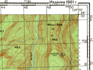 Reduced fragment of topographic map ru--gs--100k--l54-002--(1981)--N048-00_E138-30--N047-40_E139-00