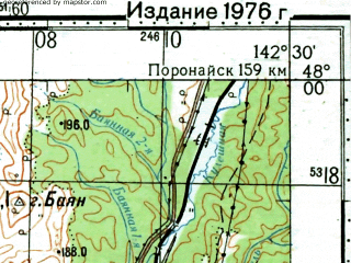 Reduced fragment of topographic map ru--gs--100k--l54-009--(1975)--N048-00_E142-00--N047-40_E142-30; towns and cities Il'inskiy, Perevalnaya, Staromayachnoye, Tomari