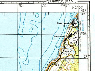 Reduced fragment of topographic map ru--gs--100k--l54-020--N047-40_E141-30--N047-20_E142-00; towns and cities Chekhov
