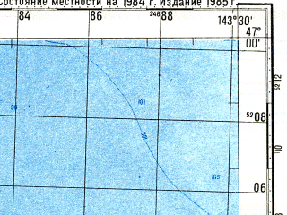Reduced fragment of topographic map ru--gs--100k--l54-047--N047-00_E143-00--N046-40_E143-30 in area of Ozero Tunajca; towns and cities Okhotskoye, Svobodnaya