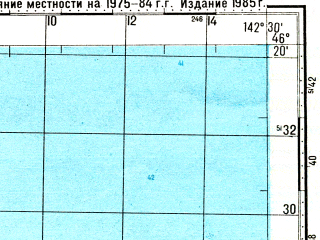 Reduced fragment of topographic map ru--gs--100k--l54-069--N046-20_E142-00--N046-00_E142-30; towns and cities Atlasovo, Medvedevka, Utesovka