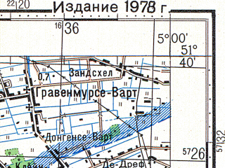 Reduced fragment of topographic map ru--gs--100k--m31-022--N051-40_E004-30--N051-20_E005-00; towns and cities Breda