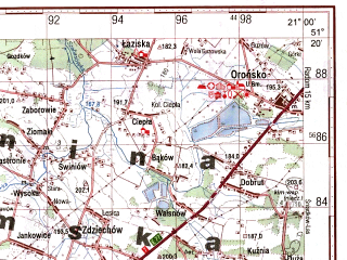 Reduced fragment of topographic map ru--gs--100k--m34-030--(1995)--N051-20_E020-30--N051-00_E021-00; towns and cities Skarzysko-kamienna
