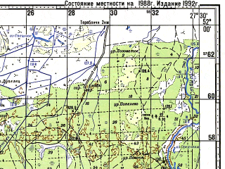 Reduced fragment of topographic map ru--gs--100k--m35-007--(1988)--N052-00_E027-00--N051-40_E027-30; towns and cities Rubrin