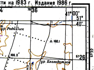 Reduced fragment of topographic map ru--gs--100k--m37-022--(1983)--N051-40_E040-30--N051-20_E041-00; towns and cities Rotoshi
