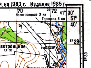 Reduced fragment of topographic map ru--gs--100k--m37-023--(1983)--N051-40_E041-00--N051-20_E041-30; towns and cities Kozlovka, Ramon'ye