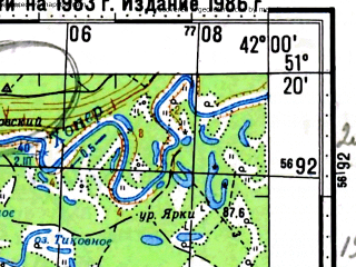 Reduced fragment of topographic map ru--gs--100k--m37-036--(1983)--N051-20_E041-30--N051-00_E042-00; towns and cities Novokhoperskiy