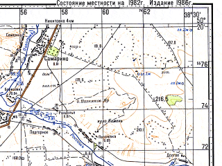 Reduced fragment of topographic map ru--gs--100k--m37-065--(1982)--N050-20_E038-00--N050-00_E038-30; towns and cities Valuyki, Demino-aleksandrovka, Dyuluchnoye, Urazovo