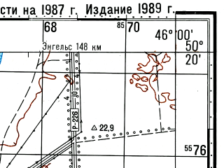 Reduced fragment of topographic map ru--gs--100k--m38-068--(1987)--N050-20_E045-30--N050-00_E046-00; towns and cities Nizhnyaya Dobrinka