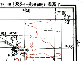 Reduced fragment of topographic map ru--gs--100k--m38-070--(1988)--N050-20_E046-30--N050-00_E047-00; towns and cities Pallasovka, Romashki