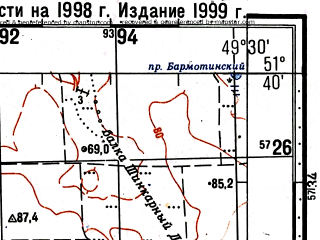 Reduced fragment of topographic map ru--gs--100k--m39-015--(1998)--N051-40_E049-00--N051-20_E049-30; towns and cities Klintsovka