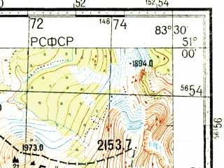 Reduced fragment of topographic map ru--gs--100k--m44-047--(1965)--N051-00_E083-00--N050-40_E083-30