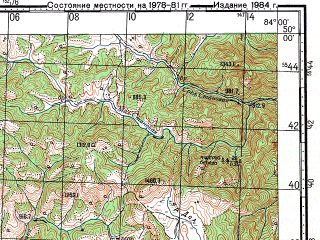 Reduced fragment of topographic map ru--gs--100k--m44-084--N050-00_E083-30--N049-40_E084-00
