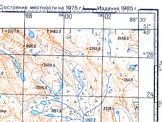Reduced fragment of topographic map ru--gs--100k--m45-021--N051-40_E088-00--N051-20_E088-30