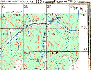Reduced fragment of topographic map ru--gs--100k--m45-031--N051-20_E087-00--N051-00_E087-30