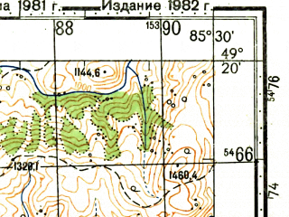 Reduced fragment of topographic map ru--gs--100k--m45-099--N049-20_E085-00--N049-00_E085-30