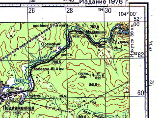 Reduced fragment of topographic map ru--gs--100k--m48-004--N052-00_E103-30--N051-40_E104-00; towns and cities Kultuk