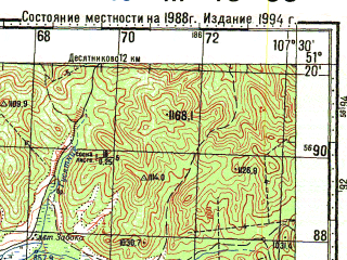 Reduced fragment of topographic map ru--gs--100k--m48-035--N051-20_E107-00--N051-00_E107-30; towns and cities Tsolga