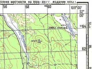 Reduced fragment of topographic map ru--gs--100k--m49-002--N052-00_E108-30--N051-40_E109-00; towns and cities Ilka, Novoilinsk