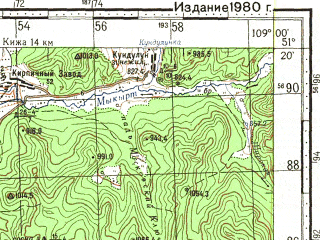 Reduced fragment of topographic map ru--gs--100k--m49-026--N051-20_E108-30--N051-00_E109-00; towns and cities Petrovsk-zabaykal'skiy, Balyaga
