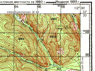 Reduced fragment of topographic map ru--gs--100k--m49-032--N051-20_E111-30--N051-00_E112-00; towns and cities Gorekatsan, Nikolayevskoye