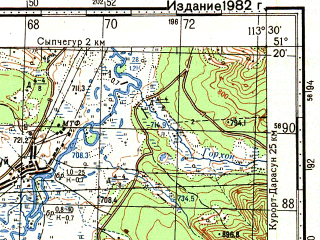 Reduced fragment of topographic map ru--gs--100k--m49-035--N051-20_E113-00--N051-00_E113-30; towns and cities Olenguy