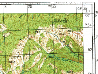 Reduced fragment of topographic map ru--gs--100k--m49-037--N051-00_E108-00--N050-40_E108-30; towns and cities Maleta