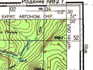 Reduced fragment of topographic map ru--gs--100k--m49-045--N051-00_E112-00--N050-40_E112-30