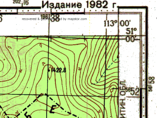 Reduced fragment of topographic map ru--gs--100k--m49-046--N051-00_E112-30--N050-40_E113-00