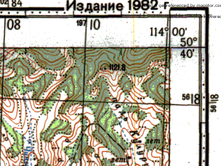 Reduced fragment of topographic map ru--gs--100k--m49-060--N050-40_E113-30--N050-20_E114-00; towns and cities Ust'-ilya, Chindaley, Mogoytuy