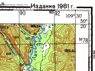Reduced fragment of topographic map ru--gs--100k--m49-063--N050-20_E109-00--N050-00_E109-30