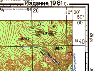 Reduced fragment of topographic map ru--gs--100k--m49-076--N050-00_E109-30--N049-40_E110-00