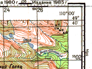 Reduced fragment of topographic map ru--gs--100k--m49-088--N049-40_E109-30--N049-20_E110-00