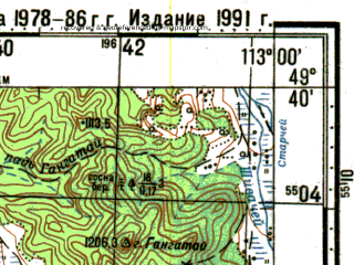 Reduced fragment of topographic map ru--gs--100k--m49-094--N049-40_E112-30--N049-20_E113-00