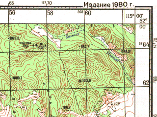 Reduced fragment of topographic map ru--gs--100k--m50-002--N052-00_E114-30--N051-40_E115-00; towns and cities Urulga
