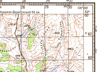 Reduced fragment of topographic map ru--gs--100k--m50-004--N052-00_E115-30--N051-40_E116-00; towns and cities Pervomayskiy, Kazanovo