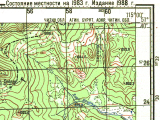 Reduced fragment of topographic map ru--gs--100k--m50-014--N051-40_E114-30--N051-20_E115-00