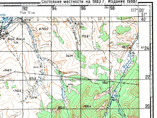 Reduced fragment of topographic map ru--gs--100k--m50-018--N051-40_E116-30--N051-20_E117-00; towns and cities Baley, Bochkarevo