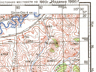 Reduced fragment of topographic map ru--gs--100k--m50-027--N051-20_E115-00--N051-00_E115-30