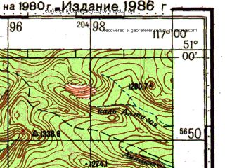 Reduced fragment of topographic map ru--gs--100k--m50-042--N051-00_E116-30--N050-40_E117-00; towns and cities Biliktuy (walled), Perednyaya Byrka